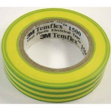 "3M PVC ELECTRICAL EARTH TAPE PROFESSIONAL QUALITY 18mm x 20M Yellow & Green ""Pack of 5 Rolls"""